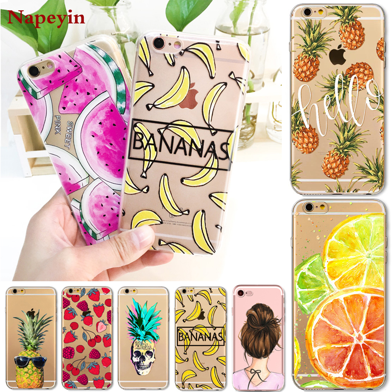Napeyin Fruit Pineapple Banana Case Cover For Apple iPhone 7 6 6S 8 Plus X 5 5S SE Soft Silicon Transparent Cases for iphone 10
