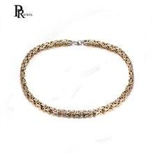 a6bd9c75c6b3 Acero inoxidable plata oro bizantino collar de cadena para hombres joyería