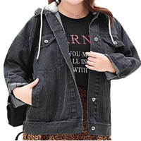 Korean Women Casual Denim Jacket Spring New Plus size Women's Hooded Basis Jackets Coat Women's Black Overalls Jeans Coats F367