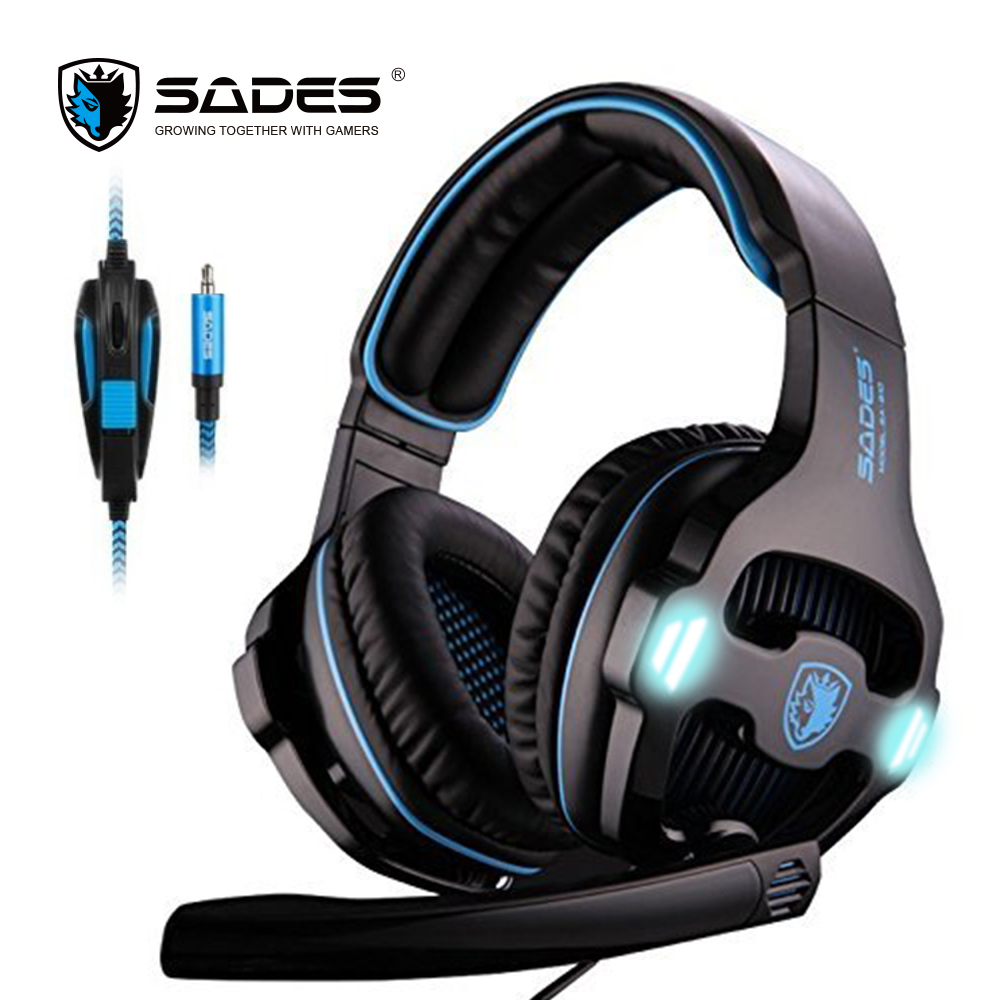 Original SADES SA-810 headset 3.5mm Wired Stereo PC Gaming Headset with Microphone for PC Laptop white blue gaming headphone