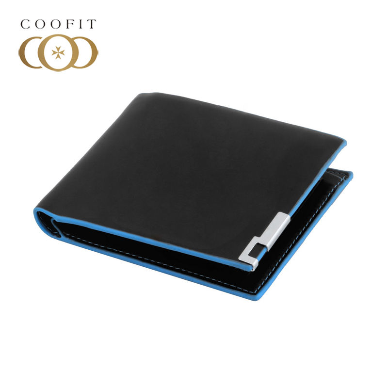 coofit Cool Fashion PU Leather Men Wallets Black Card Pocket Clutch Purse Bifold Money Clip With Photo Window Portefeuille Homme men teens fashion cool purse american