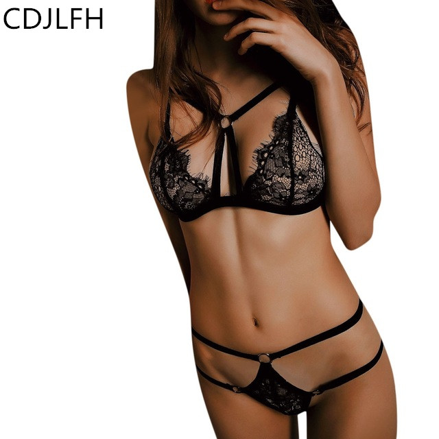 2pc Sexy Transparent   Bra     Set   Lace Tops Underwear Women Intimates Femenina 2018 Femme Woman Cute Lingerie