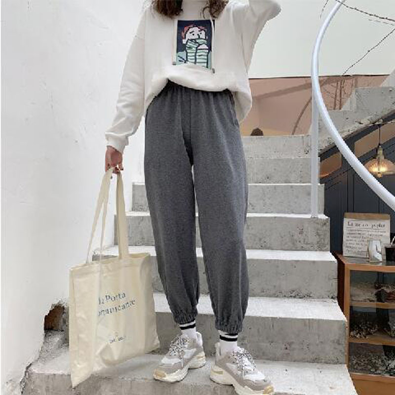 2019 Women's nine points feet   pants   loose straight   wide     leg     pants   female Harajuku style students casual sports   pants   cotton
