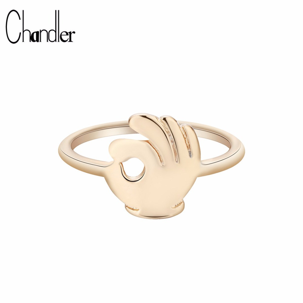 Chandler 1pcs OK Gesture Ring Hoho Hiphop Brass Funny Bague Rock Hand Design Finger Rings Friendship Lucky Trendy Hand Accessary