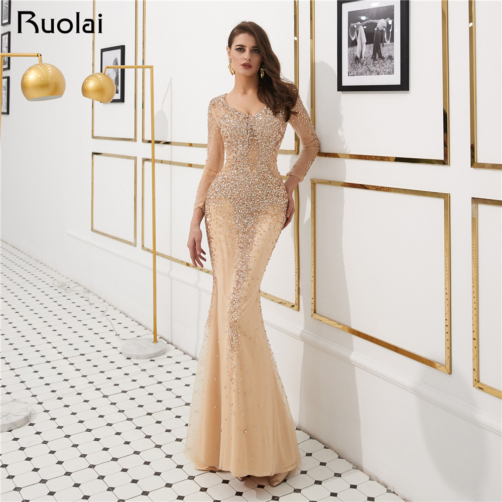 Gorgeous Prom   Dress   2019 Dubai V-Neck Mermaid   Evening     Dress   Long Sleeve Crystal Beaded   Evening   Party   Dress   Robe de Soiree SN13
