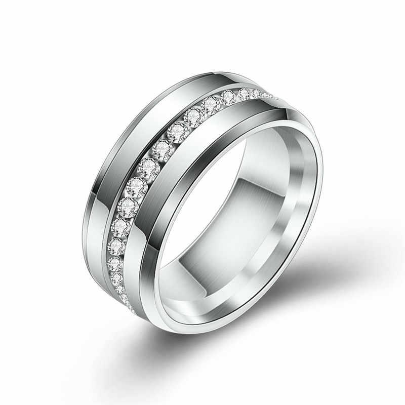 ZORCVENS สีดำและ Silver เงิน Titanium แหวนสแตนเลสผู้หญิงสีขาว CZ หินแฟชั่นเครื่องประดับขายส่ง