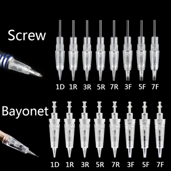50pcs 1D 1R 3R 5R 7R 3F 5F Disposable Bayonet & Screw Tattoo Needles Cartridges For Permanent Microblading Makeup Tattoo needles