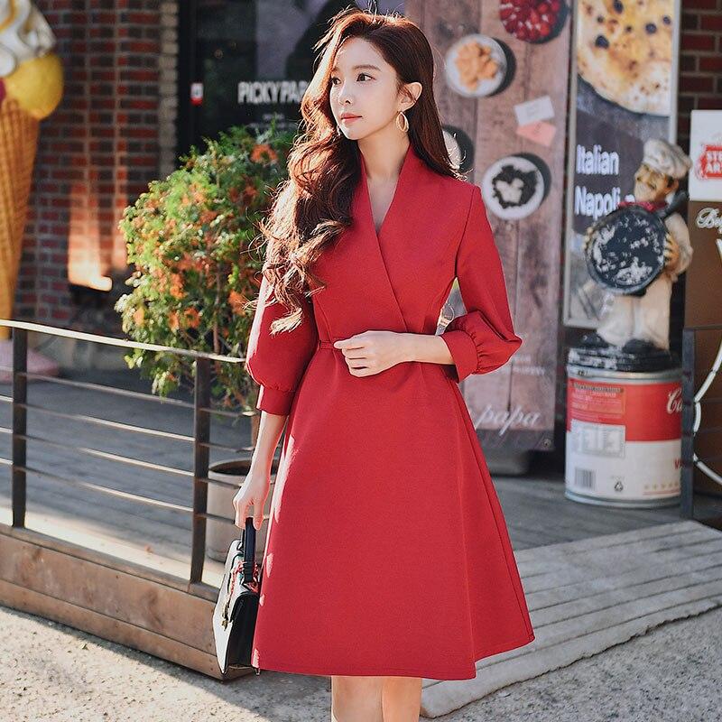 Dabuwawa mujer moda cuello en V alta cintura rojo PRIMAVERA/otoño vestido 2019 nuevo elegante A Line fiesta vestido de citas DN1ADR010-in Vestidos from Ropa de mujer    1