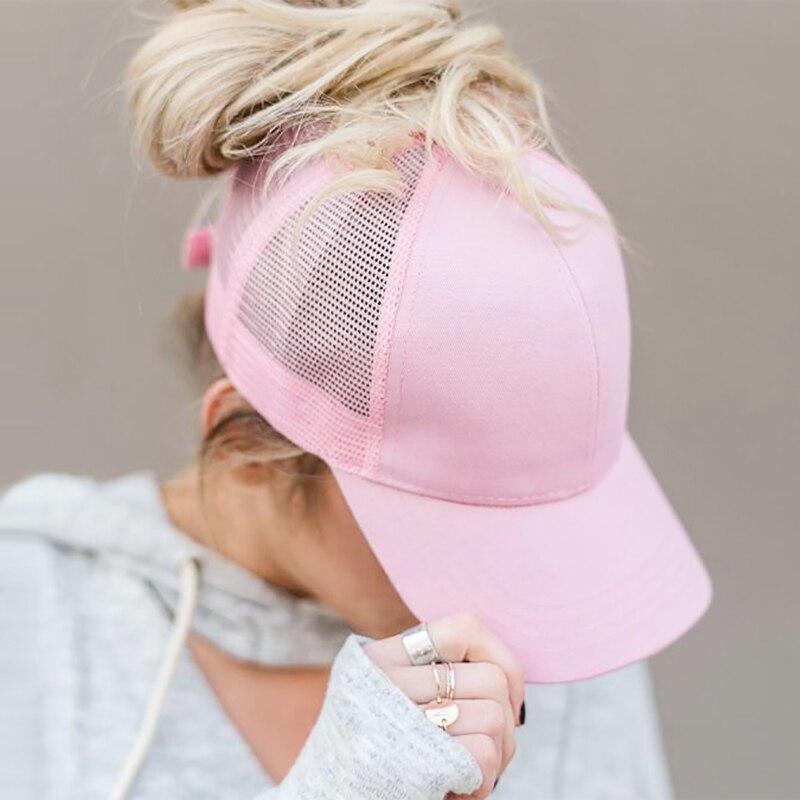 Drop Shipping Ponytail Baseball Cap Women Mesh Baseball Hats Summer Sequins Beach Cap Snapback Girl Glitter Sun Hats With Hole