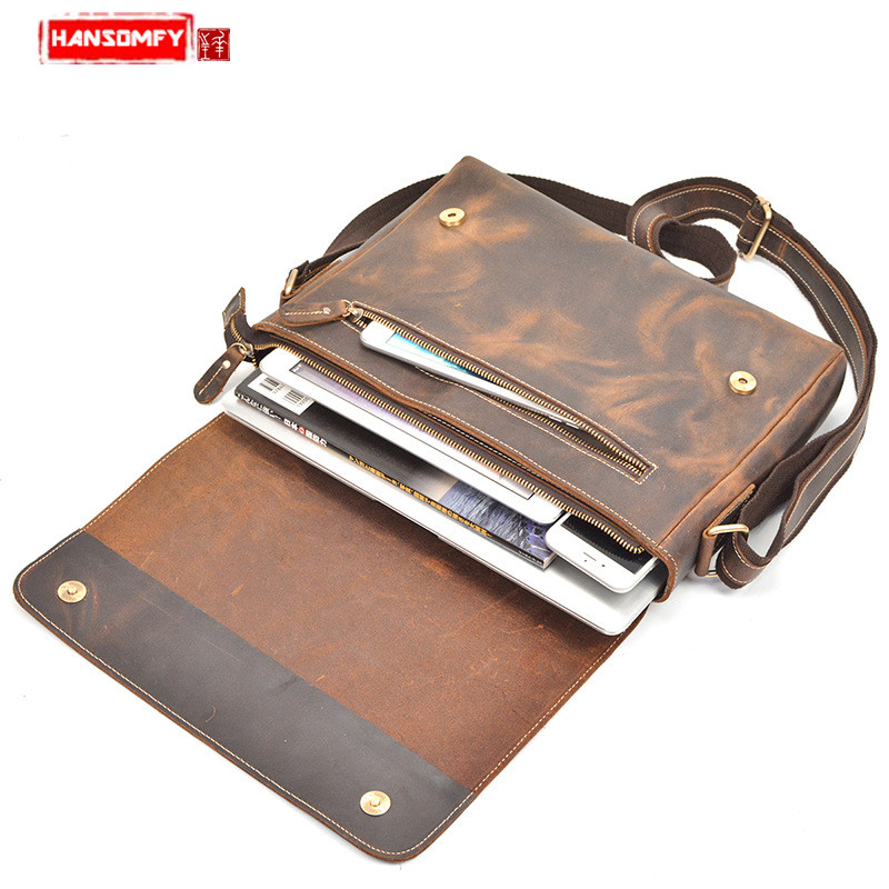 Retro Crazy Horse Leather Men's Briefcase Shoulder Messenger Bag Genuine Leather Handbag Flap Buckle Business Laptop Briefcases