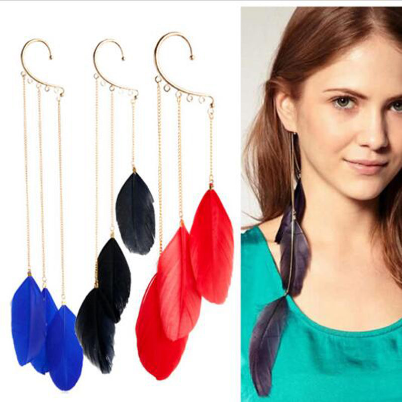 2016 New Free Shipping Fashion Hot Street Feather Earrings