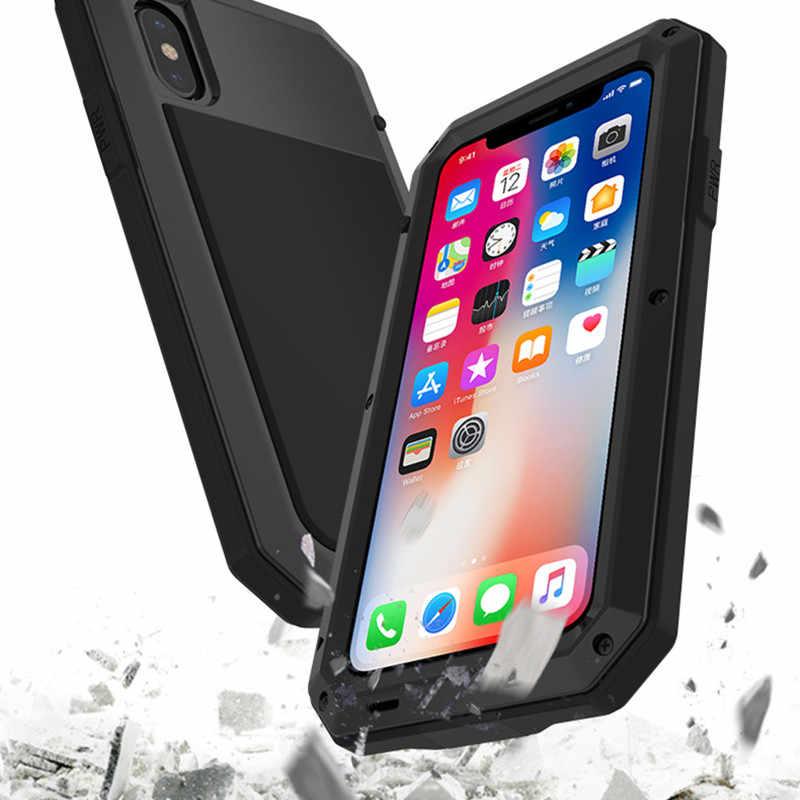 الثقيلة حماية الموت درع معدن الألومنيوم الهاتف حقيبة لهاتف أي فون 11 برو XR XS ماكس 6 6S 7 8 Plus X 5s 5 غطاء مقاوم للصدمات