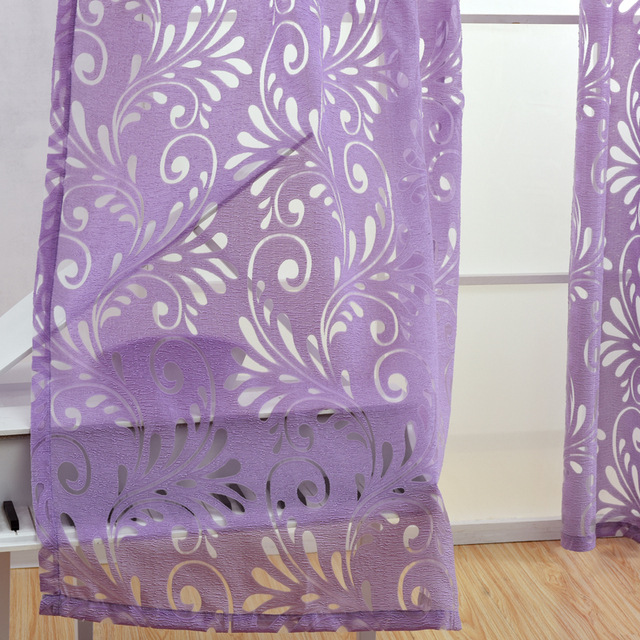 Multiple colors ready made semi-blackout curtains blind panel fabrics for window purple curtains