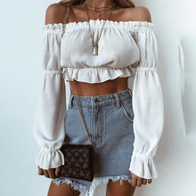 7Mang 2019 Women Elegant Ruffles Flare Long Sleeve Shirt Women White Red Slash Neck Crop Top Tees Off Shoulder Short TShirt 0118(China)