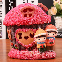 Lover Dolls Moneybox With Rose Flowers Luminious Light Figures House 12 8 15cm Piggy Bank Baby