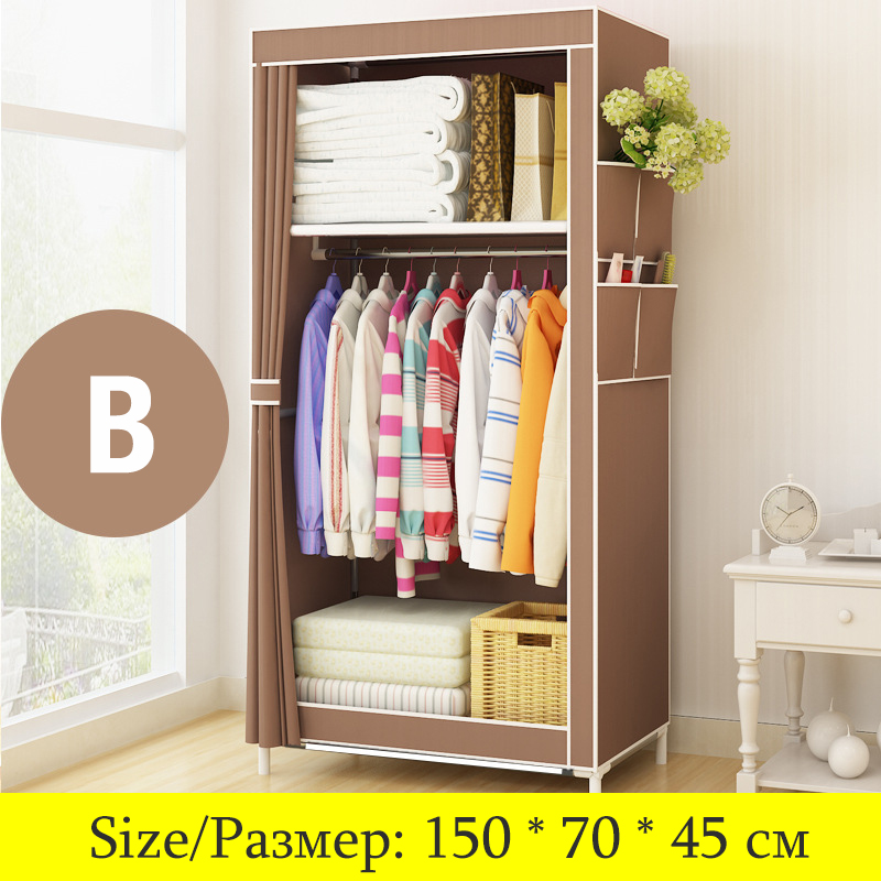 On Sale Cheapest Small Wardrobe Single Cloth Wardrobe Folding Portable Closet Clothing Storage Cabinet Home Furniture