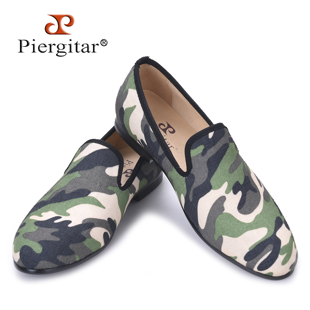 Piergitar British design classic-traditional loafers and military motif Camo print with leather insole men canvas casual shoes stylish men s athletic shoes with floral print and pu leather design design