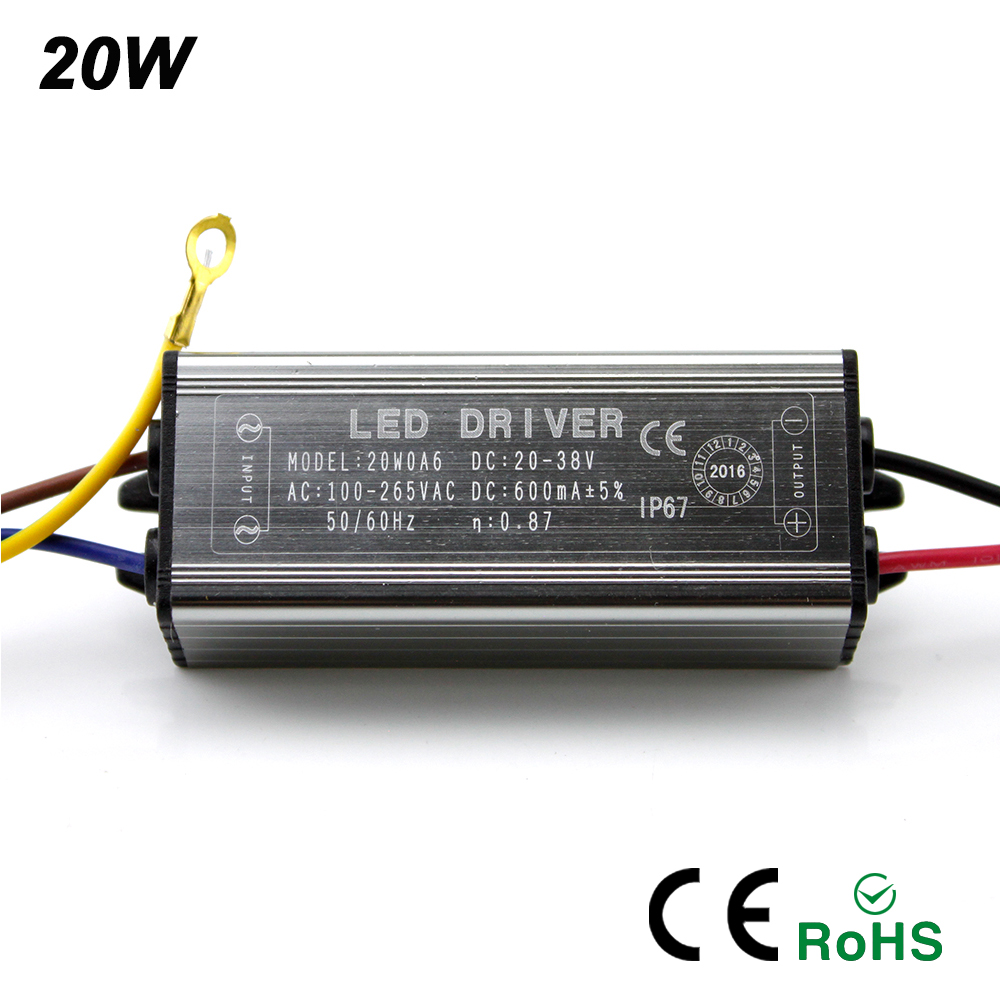 YNL 2016 New 10W 20W 30W 50W LED Driver Adapter Transformer AC100V-265V to DC20-38V Switch Power Supply IP67 For Floodlight image