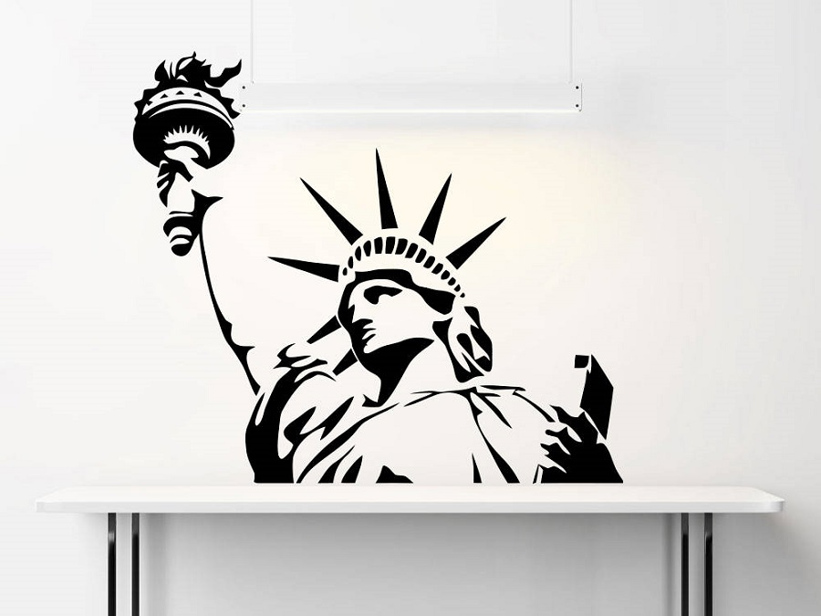 United States New York landmarks Statue of Liberty vinyl wall stickers living room bedroom office home decor decal CS21 in Wall Stickers from Home Garden
