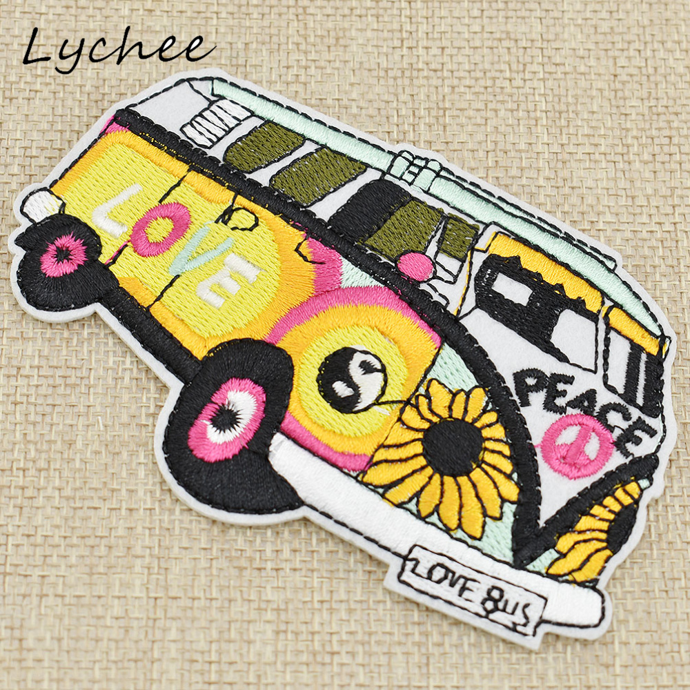 Lychee Colorful Flower Love Peace <font><b>Bus</b></font> Sewing Iron On <font><b>Patch</b></font> Badge Embroidery Clothes Decor DIY Appliques Craft image