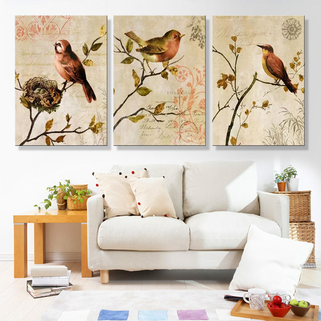 HD Printed Modern Canvas Wall Art Modular Poster 3 Panel Flowers And Birds Framework Living Room Pictures Painting Home Decor