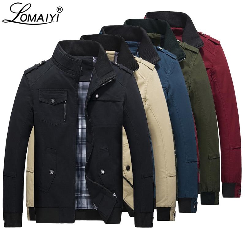LOMAIYI de los hombres de primavera y otoño chaqueta de los hombres de algodón puro rojo/Negro Casual chaqueta para hombre bombardero chaquetas y abrigos chaquetas y cazadoras hombre cazadora BM056