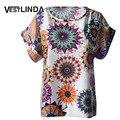 VESTLINDA Изящные Рубашки Женщины Плюс Размер Blusas Feminina Sexy Women Блузки Scoop Шеи Цветочный Печати Блузка Женщины Повседневная Блузка