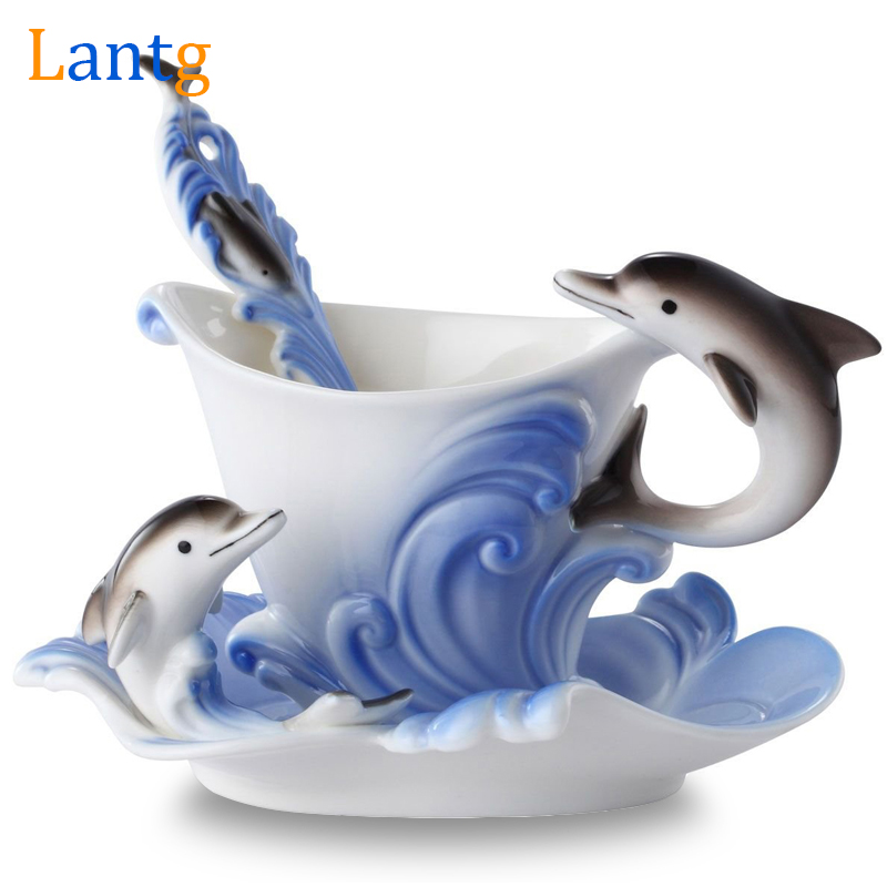 Colored Enamel <font><b>Coffee</b></font> Mug Porcelain Suit Creative Dolphins European mugs and <font><b>cups</b></font>,<font><b>a</b></font> <font><b>cup</b></font> <font><b>of</b></font> <font><b>coffee</b></font>+disc+scoop for Friend present