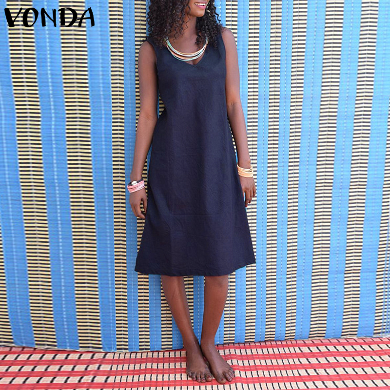 VONDA Women Summer Dress 2018 Sexy Casual Sleeveless Backless Solid Cotton Dresses Fashion Plus Size Beach Vestidos Sarafans