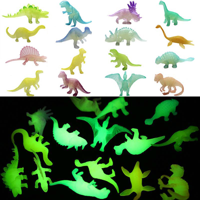16 pçs/set Mini Luminous Brinquedos Glow In The Dark Noctilucent Dinossauro Jurassic Dinossauros Meninos Presente Do Bebê para Crianças Novidade Modelo