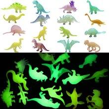 16pcs/set Mini Luminous Jurassic Noctilucent Dinosaur Toys Glow In The Dark Dinosaurs Baby Boys Gift for Children Novelty Model
