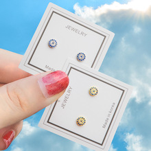 New Arrival Cubic Zirconia Stud Earrings for Women /Girls with Blue and Gold color Fashion Earring Jewelry E615