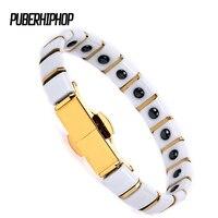 Fashion Jewelry Healing Engry Magnetic Titanium Bio Energy Ceramic Bracelet For Women Men Blood Pressure Accessory