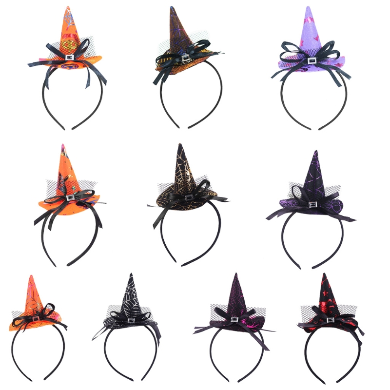 Halloween Hairband Mini Pointy Witch Hat Lovely Hair Hoop Bowknot Party Cosplay Headwear Accessories