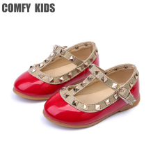 Baby Leather shoes child girls sandals for leather princess shoe kids rivets flat casual fashion