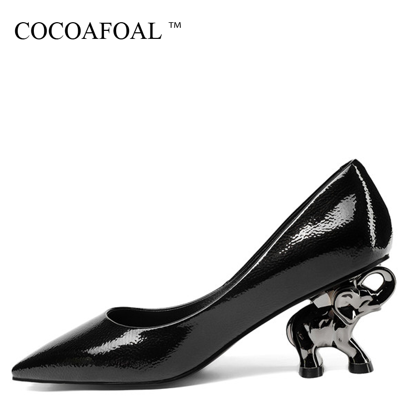 COCOAFOAL Woman Golden High Heels Shoes Plus Size 33 - 43 Black Sexy Stiletto Wedding Shoes Genuine Leather Pointed Toe Pumps cocoafoal woman pointed toe pumps pink black brown fashion sexy high heels shoes snakeskin genuine leather career pumps 2017
