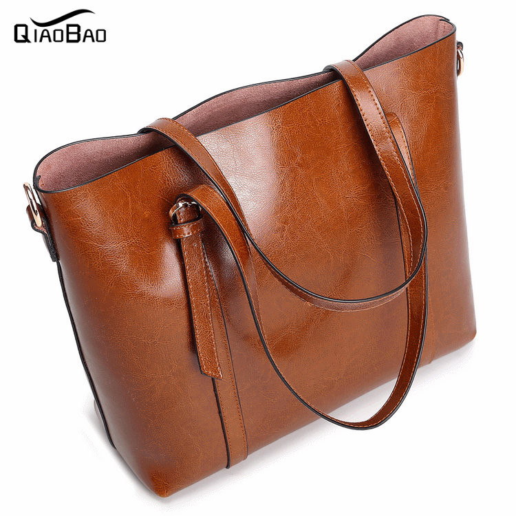 ФОТО QIAO BAO Fashion First Layer Genuine Leather Women Shoulder Messenger Bag Trendy Roses Leather Bag Casual Female