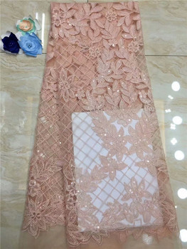 2019 8 Color African Lace Fabric White Sequins Materials French Lace Nigerian Tulle Lace Fabric For Wedding Party Dress Peach