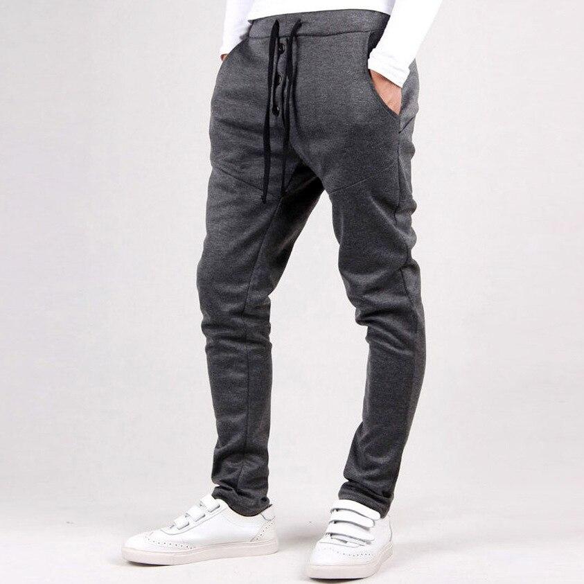 Grey Skinny Sweatpants Men Brand Clothing Knitted Casual Pants 2017 New Korean Street Fashion Harem Pants Male 3 colors M-3XL