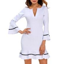 2018 New women autumn Celeb Ladies office work wear OL Bodycon v neck cocktail White Long bell Sleeves  Lotus Leaf Dress