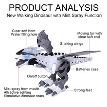 Electric dinosaurs Model Toys walking spray dinosaur robot With Light Sound swing boy's dinosaurios toy for New year's gift