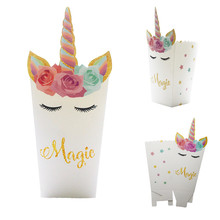6pcs Unicorn Party Popcorn Boxes DIY Birthday Decoration Theme Bags Baby Shower Kids Favors