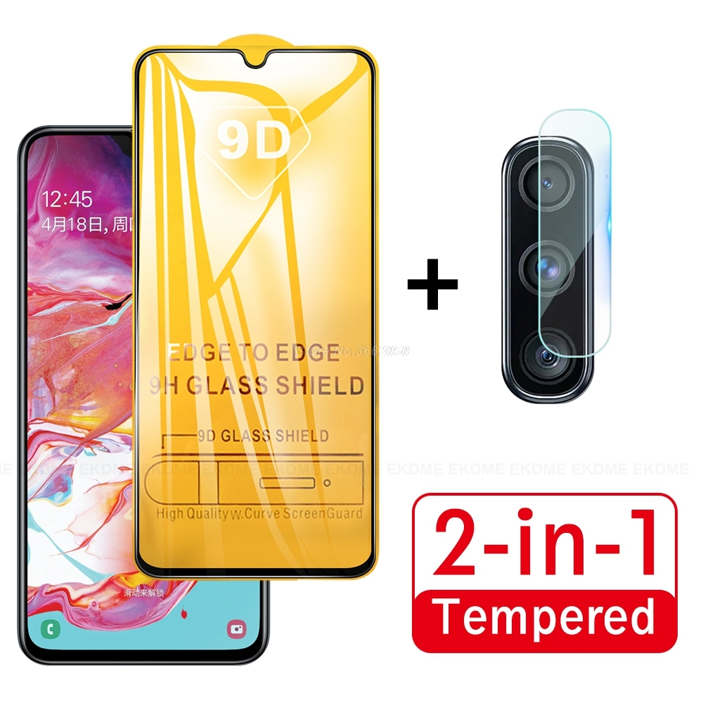 2 In 1 Full Tempered Glass For Samsung Galaxy A70 A 70 A705F SM-A705FN Screen Protector Glass Rear Camera Lens Soft Glass Film
