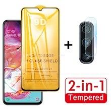 2 In 1 กระจกนิรภัยสำหรับ Samsung Galaxy A70 70 A705F SM A705FN A70 A80 A90 A60 A50 A40 a30 A20 A10 เลนส์กล้องฟิล์ม