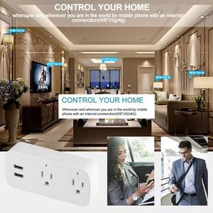 Image 5 - Smart Plug Wifi สมาร์ทซ็อกเก็ต Remote Voice control 2 พอร์ต USB ซ็อกเก็ต Tuya Smart Life App US Plug Alexa Google บ้าน Mini IFTTT
