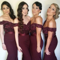 New 2017 Burgundy Bridesmaid Dresses Long Off the Shoulder Sexy Mermaid Lace for Wedding Party Vestido de Dama de Honor ASABM1