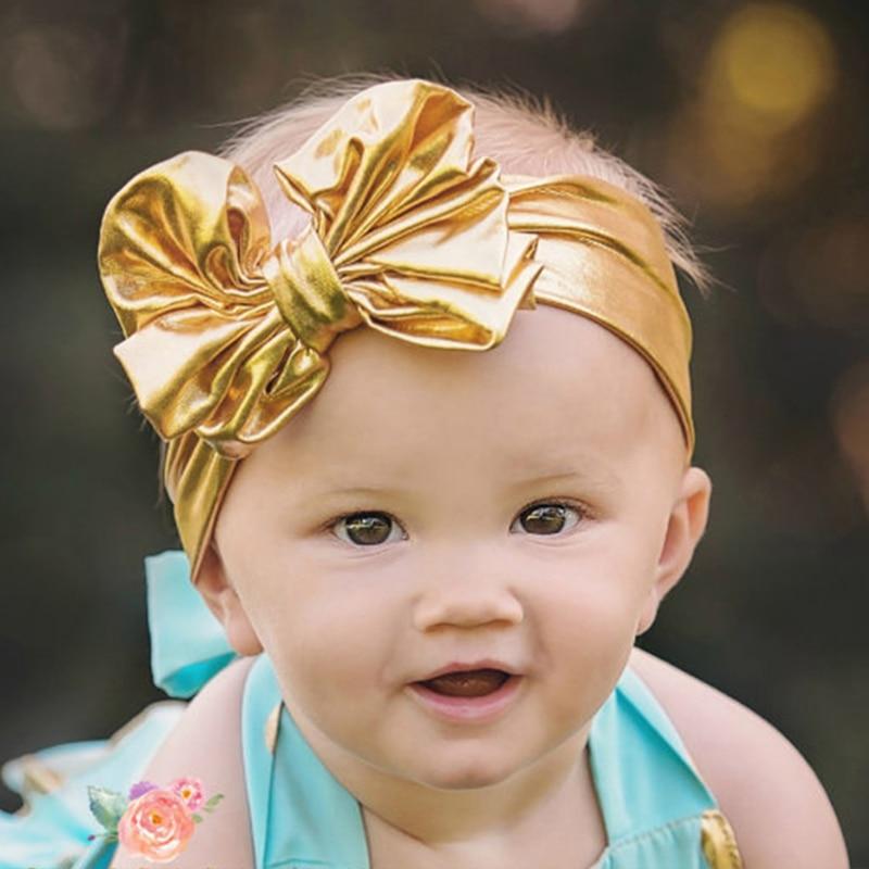 TWDVS nyfött huvudband Cool Shining Big Gold Bow Knot Elastic Headband Nyfödda Barn Hår Tillbehör Elastisk Bow Hair Band T13
