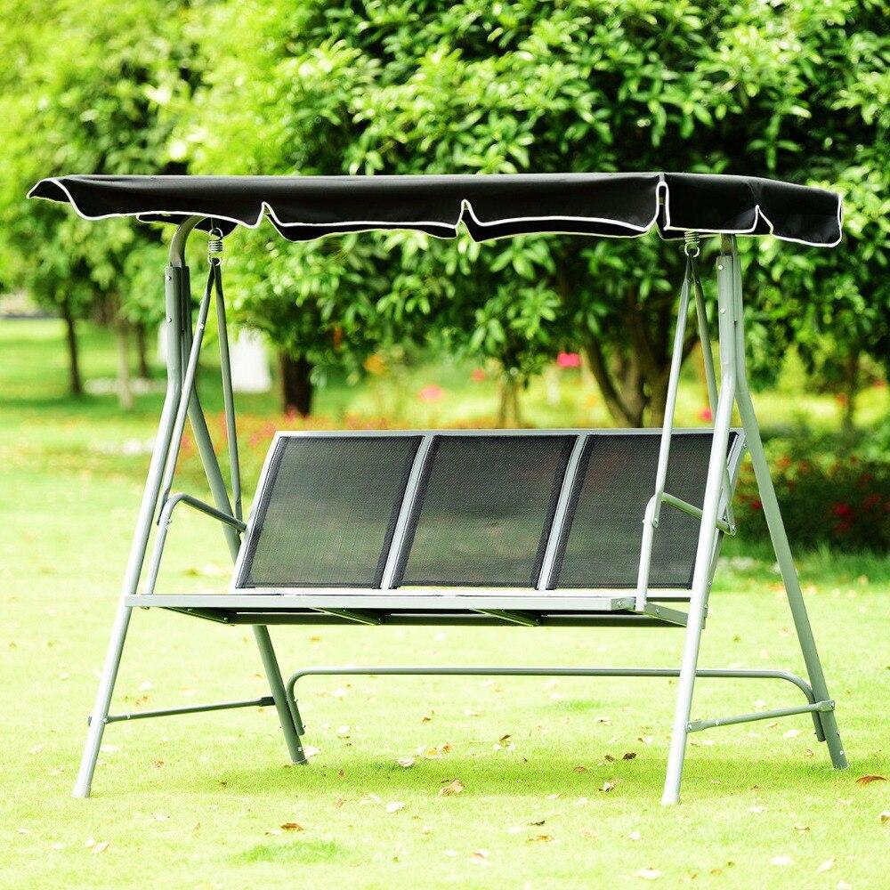 Giantex 3 personnes Patio pont balançoire chaise banc auvent extérieur fronde chaise finition en poudre mobilier d'extérieur OP3538
