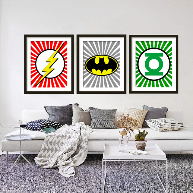 Super Hero Batman FlashGreen Lantern Print Art Canvas Wall Art Movie Poster  sc 1 st  AliExpress.com & Super Hero Batman FlashGreen Lantern Print Art Canvas Wall Art ...