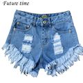 2017 new europe style women short jeans,fashion casual high waist shorts,denim ripeed washed bleached tassel female shorts C0906